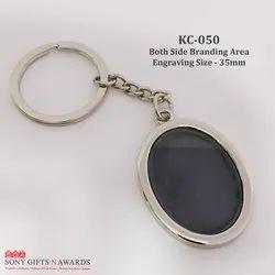 Black Double Side Metal Keychain Keyring