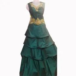 Ladies Embroidered Green Silk Gown