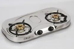 Silver SS,Brass Two Burner SS Classic Cooktop, For Kitchen