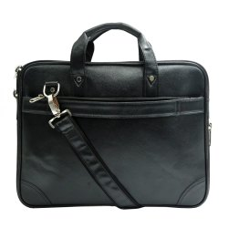 Leather Black Office Bag, Size/Dimension: 36 X 8 X 25 Cm