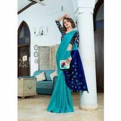 Nirvana Fashions Party Wear Ladies Cotton Silk Pom Pom Pallu Saree, 6.3 m (with blouse piece)
