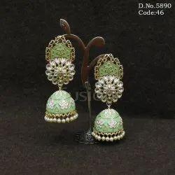 Meenakari Kundan Pearl Jhumka Earring