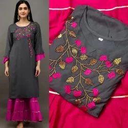 Silk Formal Wear Stitched Rayon Fabric Kurti, Wash Care: Dry clean