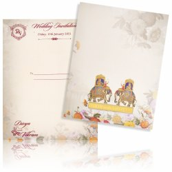 Royal Invitation Card With Acrylic Name Plate - KNKC4030  Classic Designer 2 Elephant Card