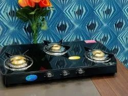 Black Stainless Steel 3 Burner Cooktop, For Kitchen, Size: 770 X 380mm (w X D)