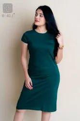 Green Ladies Hosiery Plain Dress, Half Sleeves, Size: L, Xland Xxl