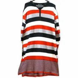 Ladies Striped Printed Woolen Kurti