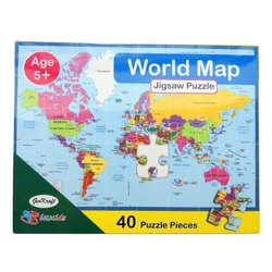 Multicolor GeoKraft World Map Jigsaw Floor Puzzle, For Kids