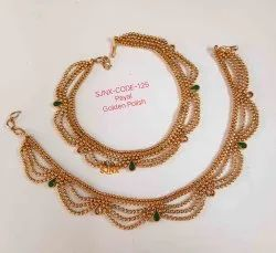 Gold Copper Traditional Payal For Women, Occasion: Wedding, Size: 30 Cm