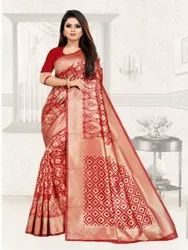 Pure Soft Lichi Silk Weaving Design Saree
