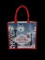 Printed Dyed Jute Christmas Bag