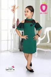 Knitted Plain Adorable Green Applique Half Bell Sleeve Fancy Short Dress