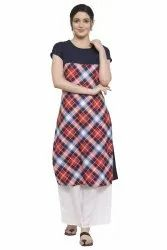 Women Printed  Crepe Straight Kurta (Orange))