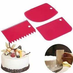 Plastic Rectangular Cake Scraper 3 Pcs Set, For Bakeware products
