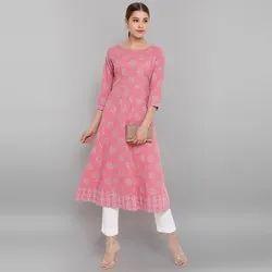 Janasya Women's Pink Cotton Kurta (JNE3577)