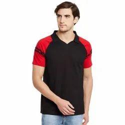 Plain Cotton Mens Polo Neck T Shirt, Size: S-XXL