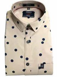 Collar Neck Men Cotton Printed Shirt, Handwash