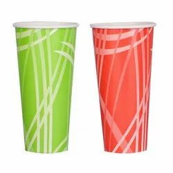 Paper Green And Red Disposable Juice Glass, 2 Mm, Size: 300 Ml