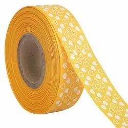 Hearts Yellow Ribbons 25mm/1''inch Gross Grain Ribbon 20mtr Length