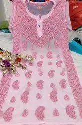 Georgette Knee Long Pink Chikan Fancy Kurti, 120, Size: S-xxl