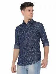 Vivid Wave Cotton Mens Blue Indigo Denim Shirt