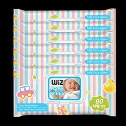 Wiz White Baby Wipes 80 Pc With Lid Assorted Pack Of 6