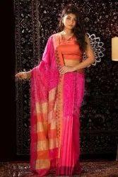 6.5 m Casual Printed Khadi Cotton Saree, With Blouse Piece