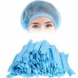 Blue Non Woven Bouffant Cap, Size: 21 Inch