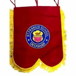 Cotton Embroidered Banner Flag, For School