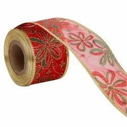 Lurex - Flowers Red Ribbons  50mm/2'' Inch 10mtr Length