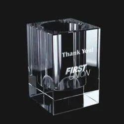 Custom-Made Transparent Glass Pen Holder, For Office