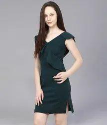 Plain Stitch Girls Party Cotton Western Dress, Size: M-xxl