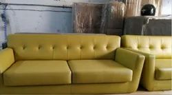 Yellow Modern 2 Seater Leather Office Sofa, Living Room