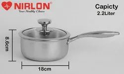 Nirlon Platinum Triply Stainless Steel Induction Base Sauce Pan With Glass Lid 18cm