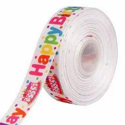 Happy Birthday Ribbons 25mm/1'' Inch Gross Grain Ribbon