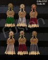 Meenakari Beaded Chandbali Earrings