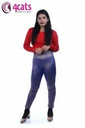 4Cats Ankle Leggings Ladies Fancy Shimmer Pant, Size: 28-42