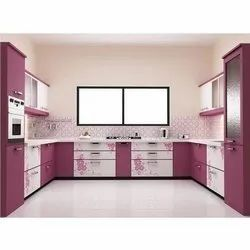 U Shape Wooden Modular Kitchen