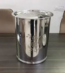 Silver Suryavansham Mirror Polish Stainless Steel Container, For Home and Hotel, Material Grade: 22 Gauge