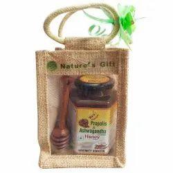 Diwali Gift Pack Propolis & Ashwagandha Enriched Honey, 500g With Honey Dipper In Jute Bag