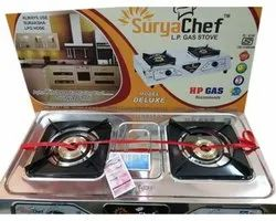 2 Silver Surya Chef LPG Gas Stove, For Kitchen