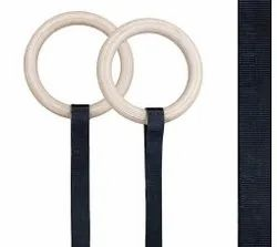 Gymnastic Wooden Rings With Heavy Duty Adjustable Strap - Made In India