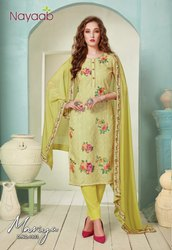 Straight Unstitched Nayaab Lime Masline Embroidered Suit, Dry Clean