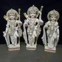 Hindu Lords Ram Jodi Gold Touch White Marble Statue