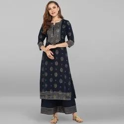 Janasya Women's Navy Blue Pure Cotton Kurta With Palazzo (SET014)
