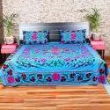 Suzani Embroidered Designer Cotton Bedsheet