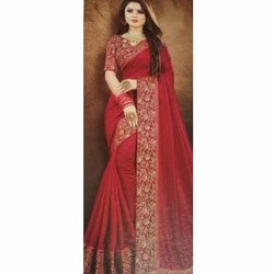 Party Wear Printed Ladies Stylish Silk Sarees, 6.3 m (with blouse piece)