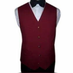 Formal Wear Plain Men Maroon Cotton Waistcoat
