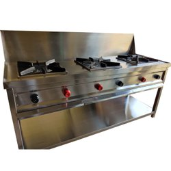Anchor LPG SS Three Burner Indian Gas Range, For Commercial