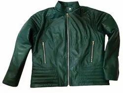 Green Mens Plain Leather Jacket